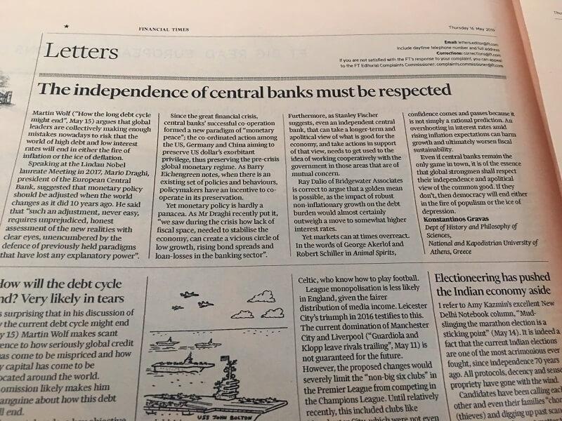 """Επιστολή στην έντυπη έκδοση των """"Financial Times"""" (16.05.2019)"""